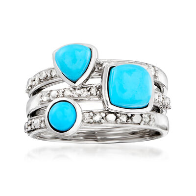 Turquoise and .20 ct. t.w. Diamond Jewelry Set: Three Rings in Sterling Silver