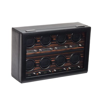 """Roadster""Black and Ebony Macassar Eight-Module Watch Winder by Wolf Designs, , default"