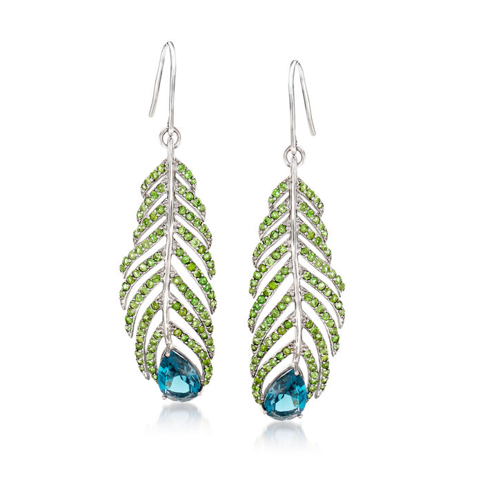 5.50 ct. t.w. London Blue Topaz and 3.30 ct. t.w. Green Tourmaline Feather Earrings in Sterling Silver. Earwire Earrings, , default