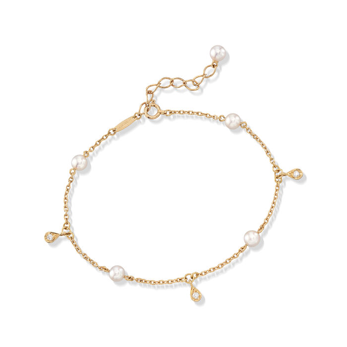 """Mikimoto 4.5mm A+ Akoya Pearl Station Bracelet with Diamond Accents in 18kt Yellow Gold. 7"""", , default"""