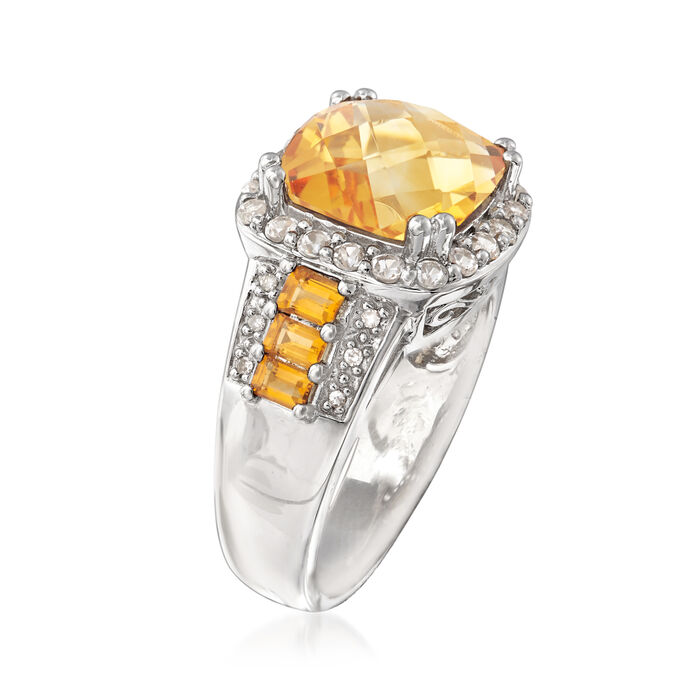 3.25 ct. t.w. Citrine Ring with White Topaz and Diamond Accents in Sterling Silver