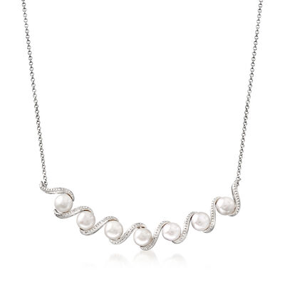 6mm Cultured Freshwater Pearl Wave Necklace in Sterling Silver