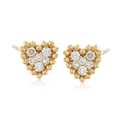 .68 ct. t.w. Diamond Cluster Heart Earrings in 14kt Yellow Gold
