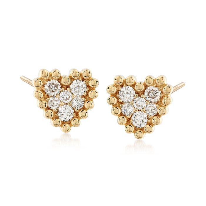 .68 ct. t.w. Diamond Cluster Heart Earrings in 14kt Yellow Gold