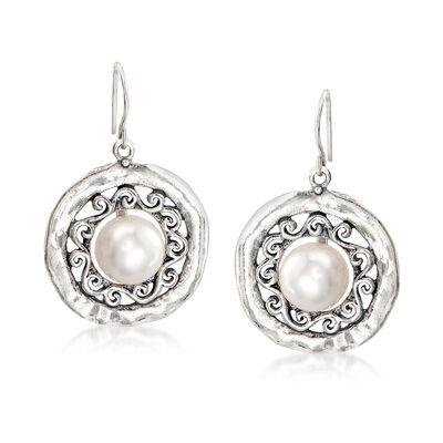 10-11mm Cultured Pearl Scroll Drop Earrings in Sterling Silver, , default