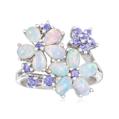 Opal and .36 ct. t.w. Tanzanite Flower Ring in Sterling Silver