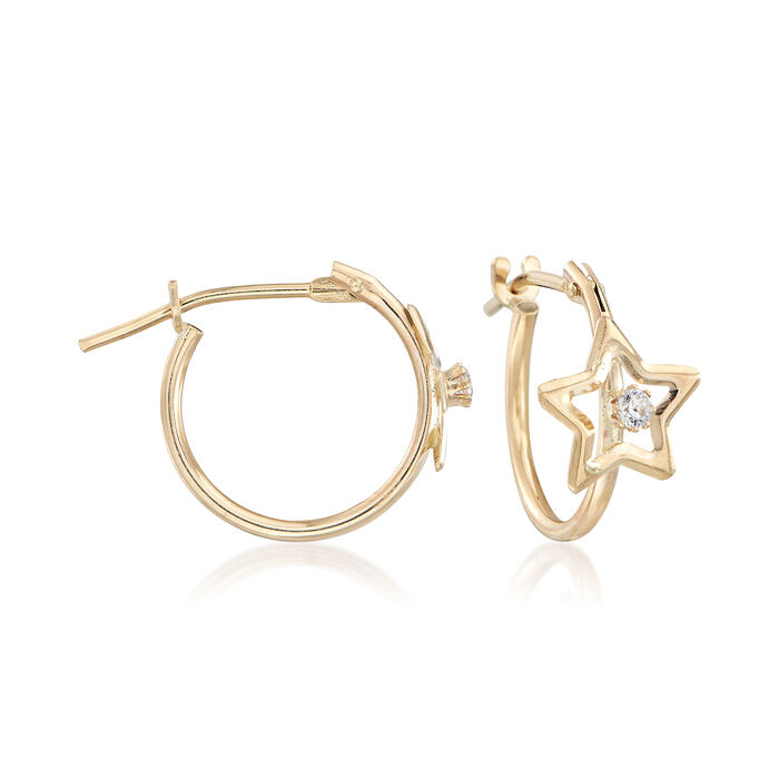 "Child's 14kt Yellow Gold Open-Space Star Hoop Earrings with CZ Accents. 3/8"", , default"