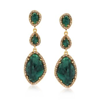 13.30 ct. t.w. Emerald and 1.20 ct. t.w. Diamond Earrings in 18kt Gold Over Sterling, , default