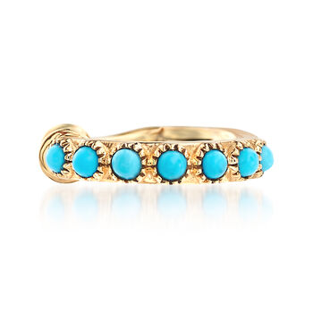Turquoise Single Ear Cuff in 14kt Yellow Gold, , default