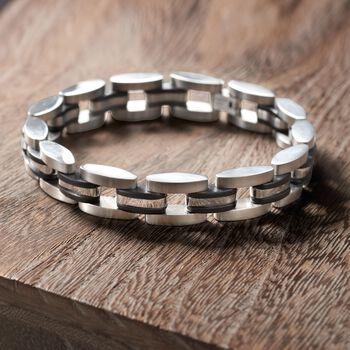 "Men's Stainless Steel Link Bracelet with Black Rubber. 8.5"""
