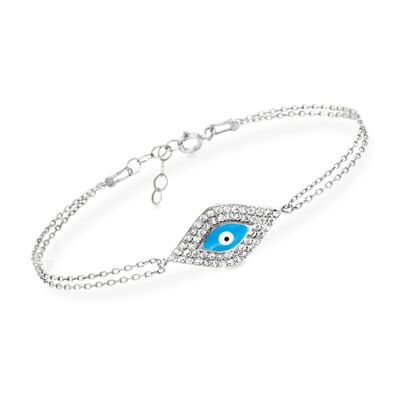 .50 ct. t.w. CZ and Enamel Evil Eye Bracelet in Sterling Silver, , default