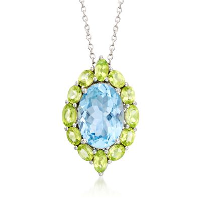 6.25 Carat Blue Topaz and 2.00 ct. t.w. Peridot Pendant Necklace in Sterling Silver, , default
