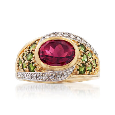C. 1990 Vintage 3.65 ct. t.w. Multicolored Tourmaline and .15 ct. t.w. Diamond Ring in 14kt Yellow Gold, , default