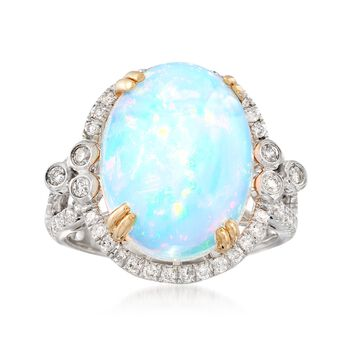 Opal and .57 ct. t.w. Diamond Ring in 14kt Two-Tone Gold, , default