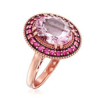 3.80 Carat Morganite and .40 ct. t.w. Pink Sapphire Ring in 18kt Rose Gold. Size 7, , default