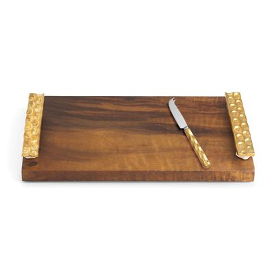 "Michael Wainwright ""Truro"" Wooden Cheese Tray and Stainless Steel Knife with 24kt Gold, , default"