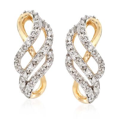 .18 ct. t.w. Diamond Twisted Hoop Earrings in 14kt Yellow Gold, , default