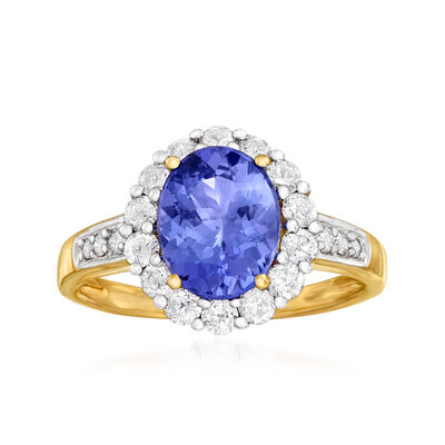 1.60 Carat Tanzanite and .64 ct. t.w. Diamond Halo Ring in 18kt Yellow Gold