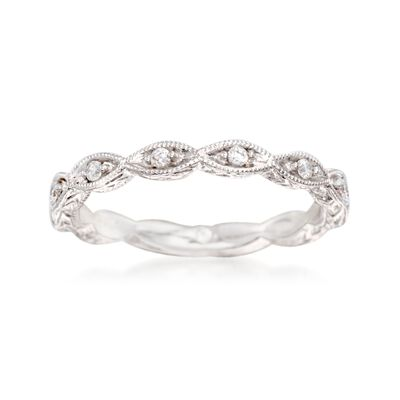 Gabriel Designs .13 ct. t.w. Diamond Marquise Wedding Ring in 14kt White Gold, , default