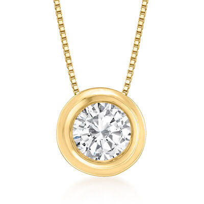 .75 Carat Bezel-Set Diamond Solitaire Necklace in 14kt Yellow Gold