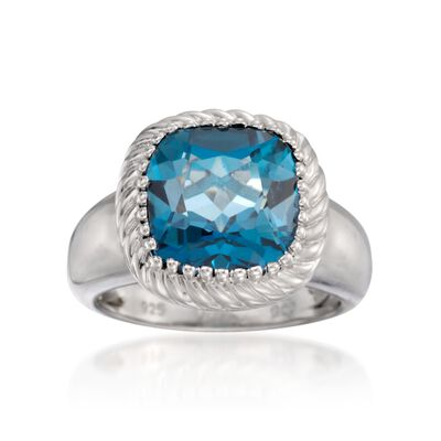6.55 Carat London Blue Topaz Ring in Sterling Silver, , default