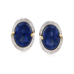 Lapis Oval Drop Earrings in 14kt Yellow Gold and White Rhodium With Diamond Accents, , default