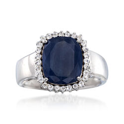 4.50 Carat Sapphire and .20 ct. t.w. White Topaz Ring in Sterling Silver, , default