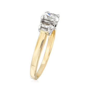 C. 1990 Vintage 1.05 ct. t.w. Diamond Three-Stone Ring in 14kt Yellow Gold. Size 8