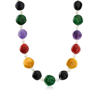 Multicolored Jade Bead and 7-7.5mm Cultured Pearl Necklace in Sterling Silver
