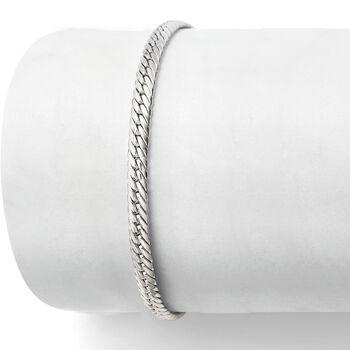 Italian 14kt White Gold Cuban-Link Bracelet, , default