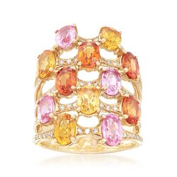 7.20 ct. t.w. Multicolored Sapphire and .30 ct. t.w. Diamond Multi-Row Ring in 18kt Yellow Gold, , default
