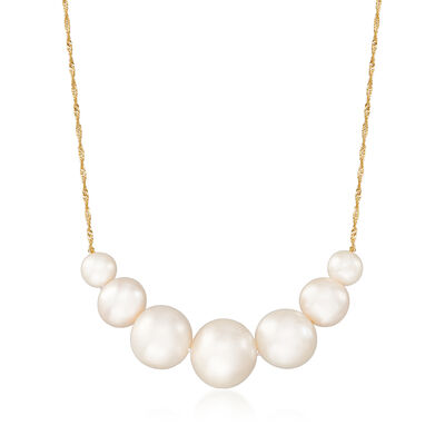 6-12mm Cultured Pearl Graduated Necklace in 14kt Yellow Gold, , default