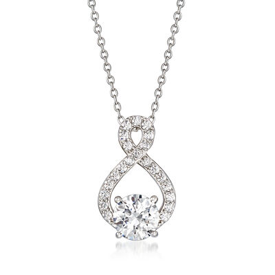 1.58 ct. t.w. CZ Twist Pendant Necklace in Sterling Silver, , default