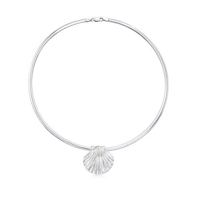 Italian Sterling Silver Seashell Pendant Necklace, , default