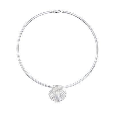 Italian Sterling Silver Seashell Pendant Necklace, , default