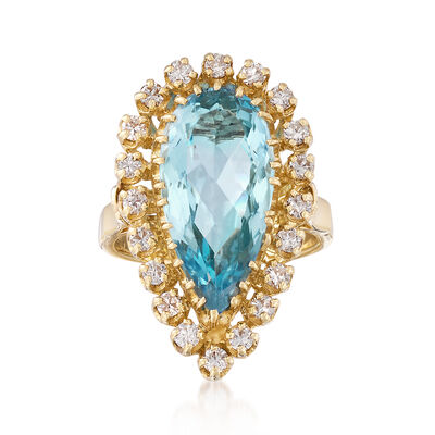 C. 1980 Vintage 4.30 Carat Aquamarine and .70 ct. t.w. Diamond Ring in 14kt Yellow Gold