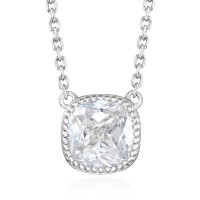 2.20 Carat Square CZ Necklace in Sterling Silver