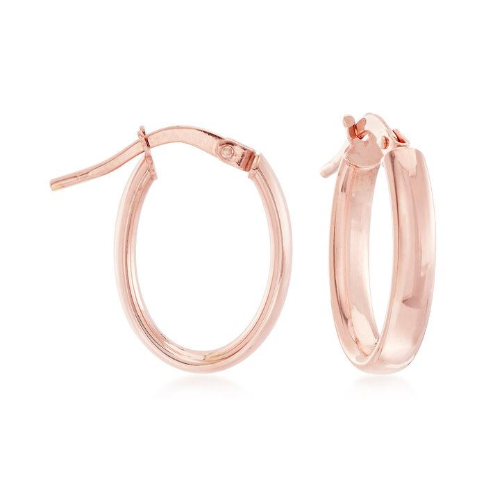 """3mm 14kt Rose Gold Hoop Earrings. 5/8"""", , default"""
