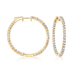 """3.00 ct. t.w. Diamond Inside-Outside Hoop Earrings in 18kt Gold Over Sterling. 1 3/8"""", , default"""