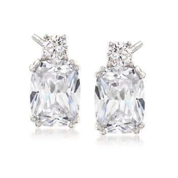 3.20 ct. t.w. Round and Cushion-Cut CZ Earrings in Sterling Silver, , default