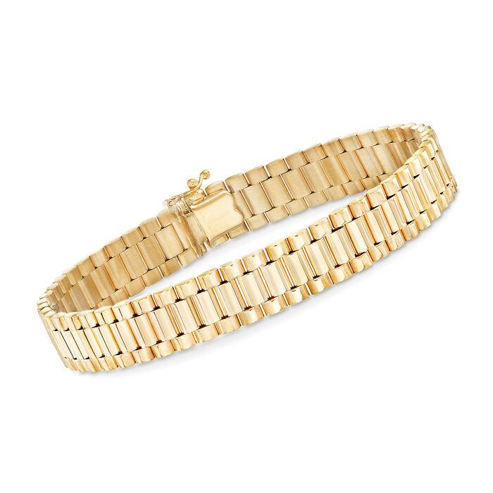 "Men's 14kt Yellow Gold Link Bracelet. 8"""