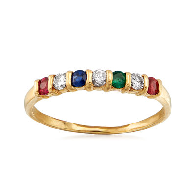 C. 1990 Vintage .29 ct. t.w. Multi-Gemstone and .15 ct. t.w. Diamond Ring in 14kt Yellow Gold, , default