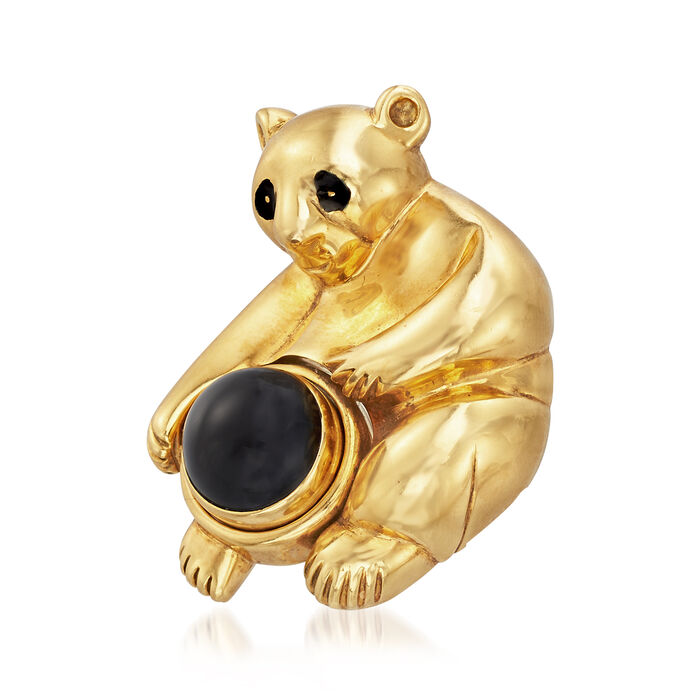 C. 1995 Vintage Piaget Bear Pin in 18kt Yellow Gold with Black Onyx, , default
