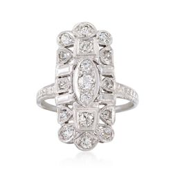 C. 1920 Vintage .75 ct. t.w. Diamond Dinner Ring in 18kt White Gold. Size 7.5, , default