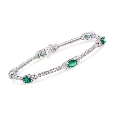 2.70 ct. t.w. Emerald and .86 ct. t.w. Diamond Bracelet in 14kt White Gold, , default