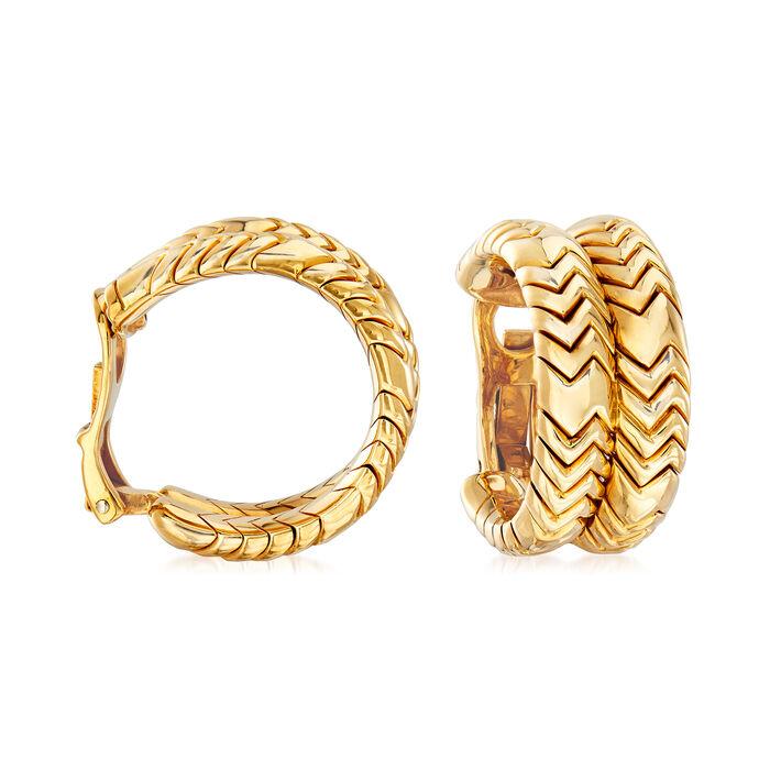 C. 1980 Vintage Bulgari Double Row Hoop Clip-On Earrings in 18kt Yellow Gold