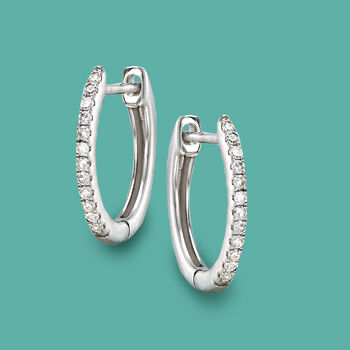 .10 ct. t.w. Diamond Huggie Hoop Earrings in 14kt White Gold. 3/8""