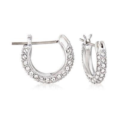 Swarovski Crystal Huggie Hoop Earrings in Silvertone, , default