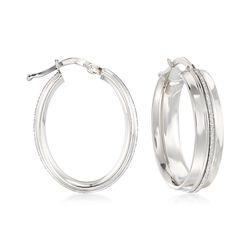 Italian Sterling Silver Oval Hoop Earrings With Silvertone Glitter, , default