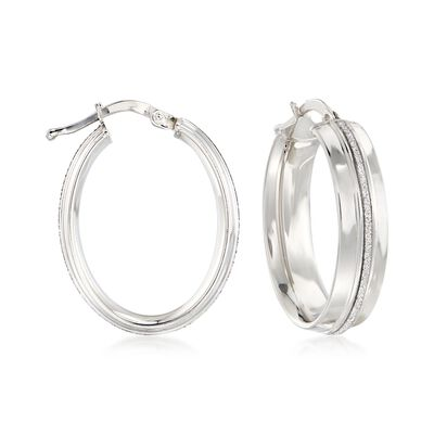 Italian Sterling Silver Oval Hoop Earrings with Silvertone Glitter, , default